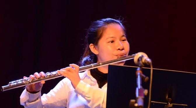 瑞典著名华人竹笛演奏家吴晶在世界盲人日-白手杖节庆典中演出