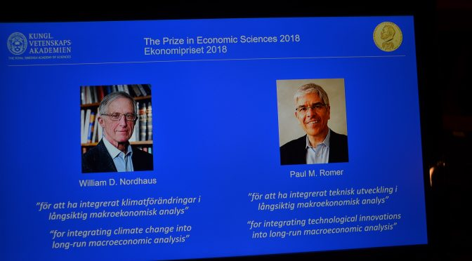 Nordhaus and Romer share 2018 Economic Prize in Memory of Alfred Nobel