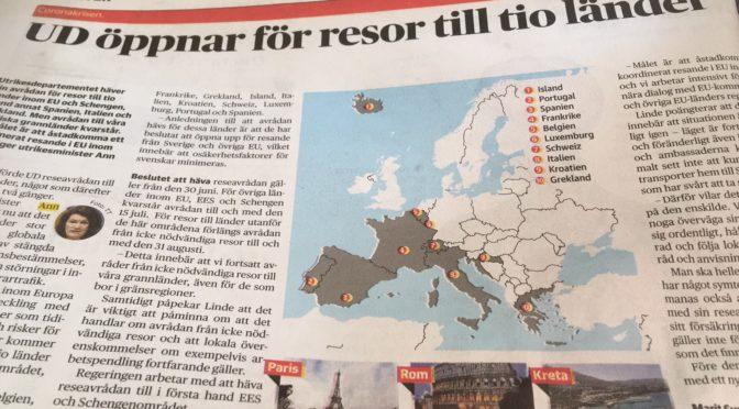 瑞典外交部向10个欧洲国家解除禁飞令