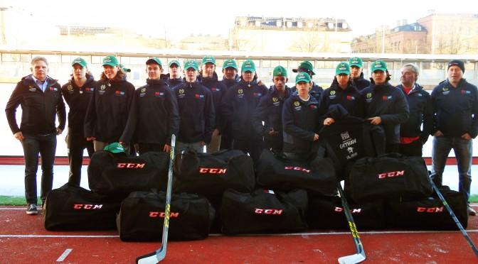 斯德哥尔摩悍马冰球队首次穿上具有中瑞两国国旗的队服