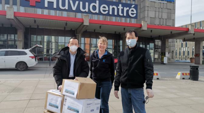 瑞典华人总会向瑞典卡罗林斯卡医院捐赠口罩