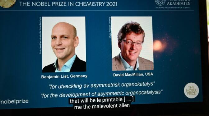 德美科学家因开发非对称性有机催化剂获得2021诺贝尔化学奖